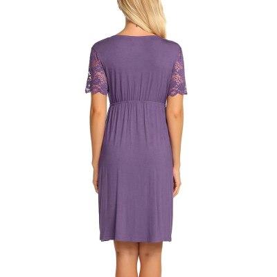 Maternity Pajama Women's Nursing Nightgown Pregnancy Dress Lace Splice Maternity Dress