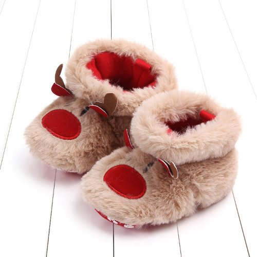 BabyShoes Newborn Baby Girls Boys Cartoon Fluffy Deer Warm Boot First Walkers Christmas Shoes Soft Sole Sneakers First Walker