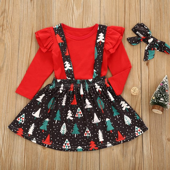 Toddler Girl Sets Kid Baby Girl Long Sleeve Christmas Trees Suspender Skirt Clothes Sets 0-24m Christmas Clothes For Girls New