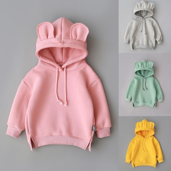 Solid Sweatshirt Toddler Baby Kids Boy Girl Hooded Cartoon 3d Ear Hoodie Sweatshirt Tops Clothes