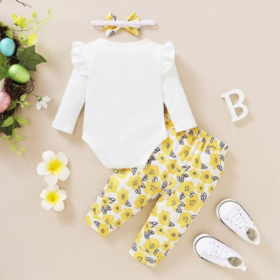 Baby Girl Clothes Autumn Toddler Baby Girls Letter Print Romper Bodysuit+floral Pants +headband Set