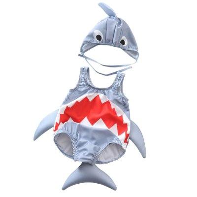 Babys Summer Clothes 2pcs Swimsuits Toddler Kids Baby Girls Boys Cartoon Shark Swimsuit Bikini Swimwear Romper Hat Bathing Suit