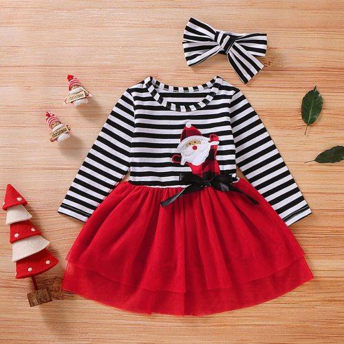 12m-5t Toddler Newborn Baby Girls Long Sleeve Christmas Santa Striped Print Mesh Skirt Dress Tulle Dress+headband Outfits