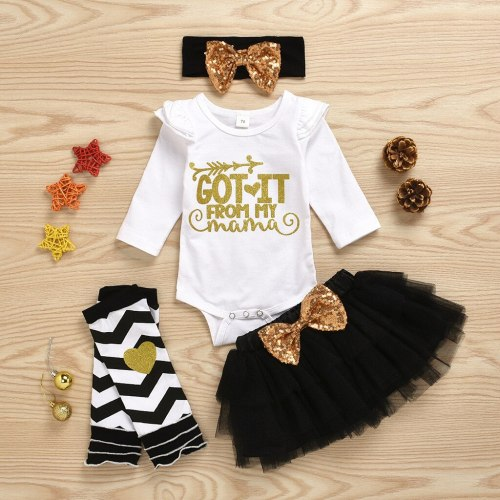 Baby Girl Summer Clothes Letter Happy Mother Romper Skirt Headband Band Leg Warmer Mother's Day Set