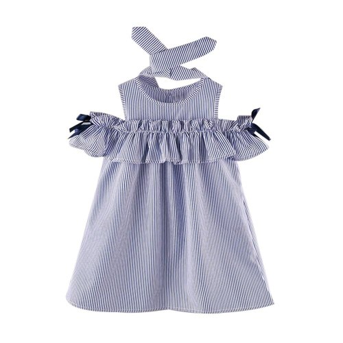 2PCS Toddler Kids Baby Girl dress  Outfit Clothes Strapless Stripe Dress+Headband Set