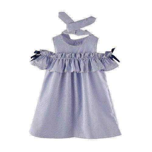 2PCS Toddler Kids Baby Girl dress  Outfit Clothes Strapless Stripe Dress+Headband Set