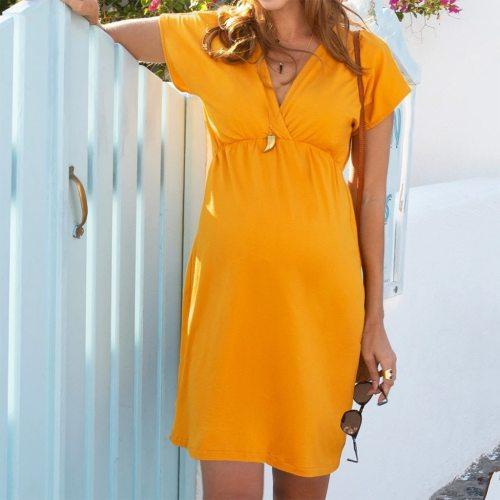Maternity Dresses Women Pregnant Nusring Maternity Short Sleeve Solid V-neck Dress Pregnancy Clothes