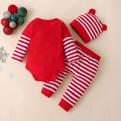 My First Christmas Newborn Baby Christmas Cartoon Print Patchwork Romper +striped Pants Set 3-24m Baby Clothes