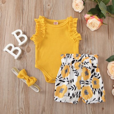 3pcs Set Newborn Baby Girls Clothing Set Kids Girls Sleeveless Ruffle Romper+floral Shorts+headband Summer Set