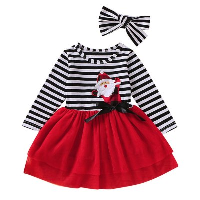 12m-5t Toddler Newborn Baby Girls Long Sleeve Christmas Santa Striped Print Mesh Skirt Dress Tulle Dress+headband Outfits