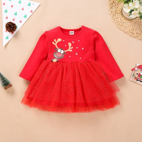 Christmas Dress Girl 12m-4t Newborn Youth Teen Girl Long Sleeve Christmas Day Cartoon Deer Tulle Dress