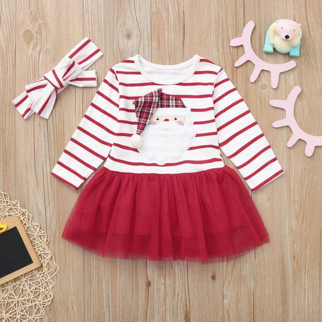 Infant Baby Kids Girls Long Sleeve Cartoon Santa Christmas XMAS Striped Tutu Tulle Dress Hairband Sets Toddler Fashion Outfit