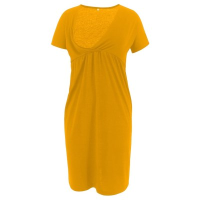Maternity Dresses Women Pregnant Nursing Maternity Short Sleeve Solid V-neck Dress