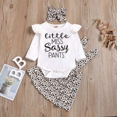Newborn Infant Baby Girl Clothes Letter Leopard Print Princess Dress+romper+hairband Set Girls Clothes