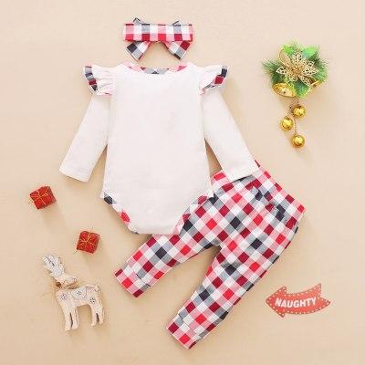 Fashion Christmas Clothes Newborn Infant Baby Christmas Ruffle Print Romper Bodysuit+plaid Pants Set
