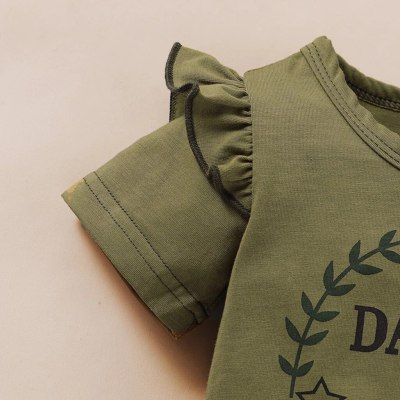 Newborn Baby Girl Short Sleeve Letter Daddy's Girl Print T-shirt Top+camouflage Shorts Set Girls Summer Outfits