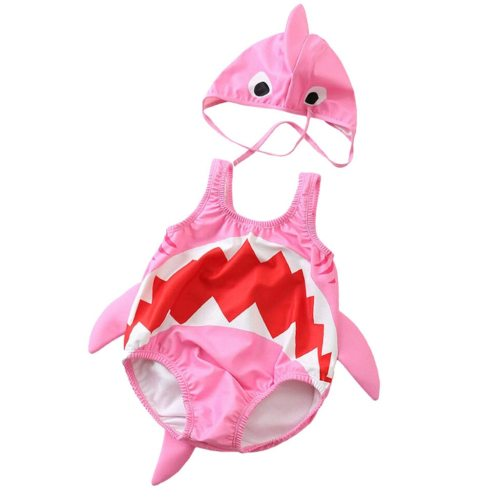 Babys Summer Clothes 2pcs Swimsuits Toddler Kids Baby Girls Boys Cartoon Shark Swimsuit Bikini Swimwear Romper Hat Bathing Suit