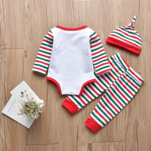 2020 My First Christmas Newborn Baby Girls Boys Outfits Clothes 3pcs Stripe Long Sleeve Romper+pants+hat Set