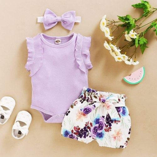 3pcs Newborn Toddler Jumpsuit Girls Summer 2020 Baby Girls Clothing Set Romper Floral Shorts Summer Outfits Baby Clothes
