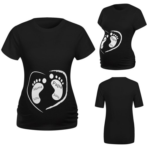 Women Maternity Clothes Short Sleeve Cute Cartoon Footprint Tops Shirt Pregnancy Clothes Summer Tops