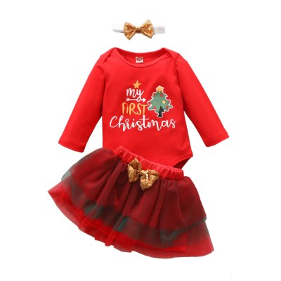Newborn Baby Girls Clothes Christmas Cartoon Romper Bodysuit+bowknot Tulle Skirt Set My First Christmas Romper
