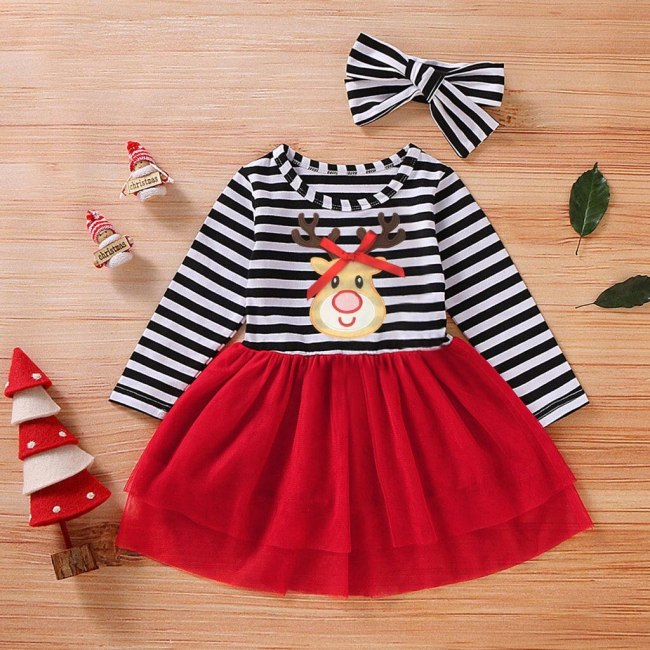 Toddler Christmas Outfits Baby Girls Christmas Deer Striped Print Tulle Dress+Headband Outfits Romper