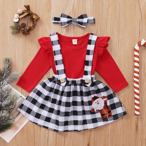 6m-4t Girls Christmas Clothes Toddler Baby Girl Ruffle Long Sleeve Tops+plaid Christmas Santa Suspender Skirts Outfits