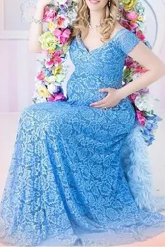 Pregnant Mother V-neck Dress Maternity Photography Props Women Pregnancy Clothes Lace Dress