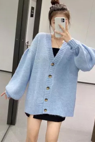 Blue Oversized Women  Ribbed V Neck Long Puff Sleeve Cardigan