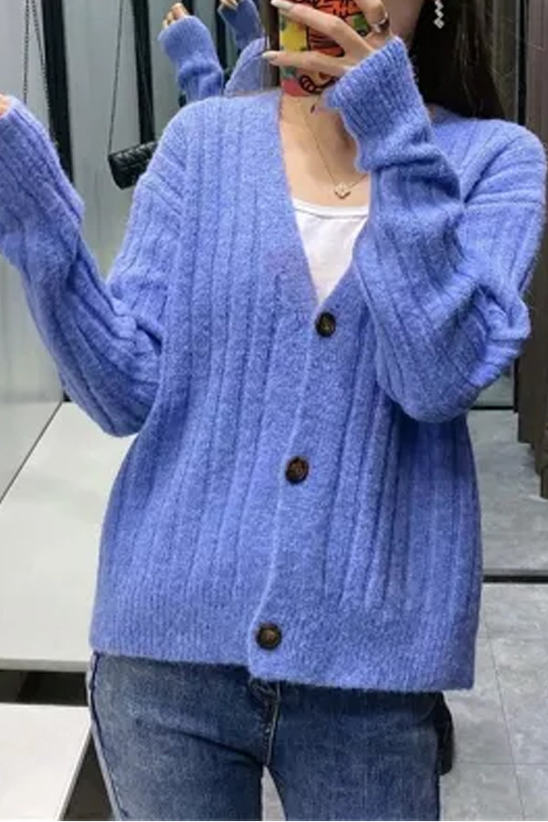 Ribbed Knitted Women Autumn Winter Long Sleeve V Neck Sweaters
