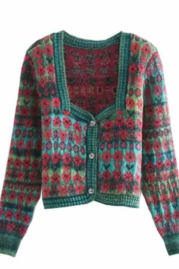 Vintage Green Jacquard Cropped Knitted Cardigan Sweater
