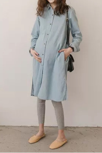 Maternity Denim Cotton Loose Pregnant Plus Size women's Denim Shirts