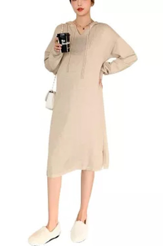 Autumn Winter Thick Warm Knitted Maternity Long Dress Hoodies Loose Dress Clothes