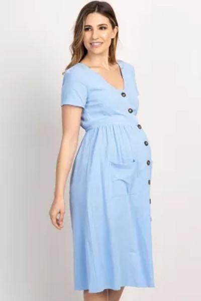 Maternity Dresses Pregnant Women Office Casual Clothes Cotton Summer Female Plus Size Pregnancy Dress