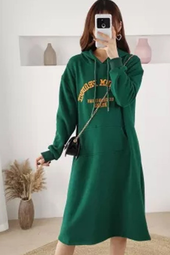 Embroidered Hooded Dress Winter Nursing Maternity Sweater Plus Size Breastfeeding Dress