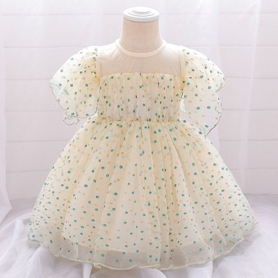 Children Short-sleeve Dresses Baby Girl Dot Mesh Princess Dresses Little Girls Birthday Party Banquet Dresses