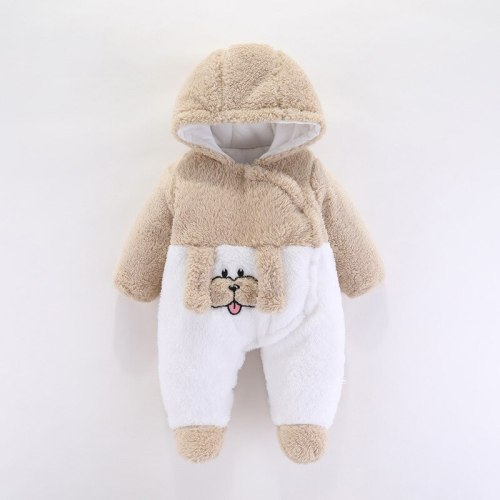 Newborn Baby Boys Girls Hooded Romper Autumn Winter New Children Thickened Warmth Romper