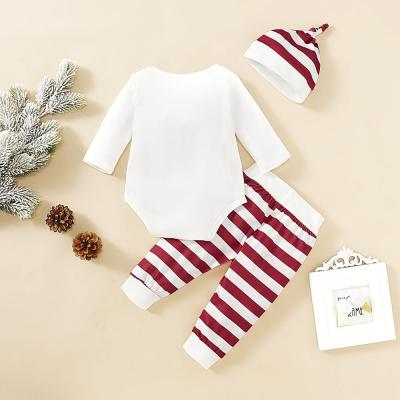 Fashion Christmas New Baby Girl Clothes  Long Sleeve Romper+ Pants + Hat 3 Pieces Set Kids Clothes For Newborns