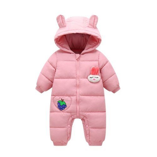 Autumn Winter Newborn Baby Rompers Hooded Cartoon Rabbit Baby  Snowsuit Toddler  Jumpsuit