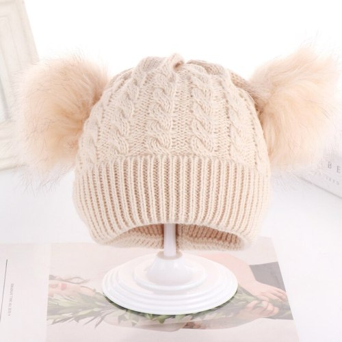 New Children Winter Hats Newborn Twist Kids Hats Baby Hats Knitting Double Woolen Furry Balls Warm Baby Girls Hats