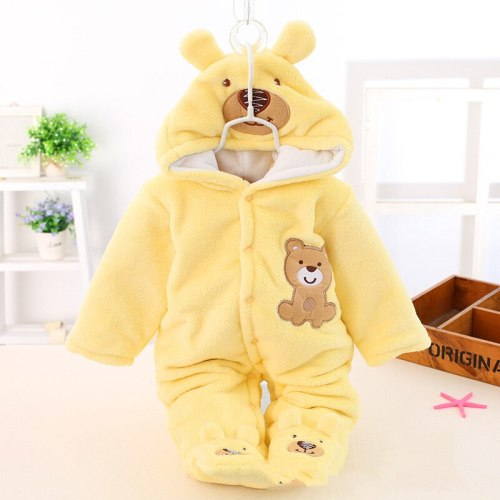 Infant Casual Romper Winter New Baby Boy Coral Fleece Thickened Outer Clothes Romper