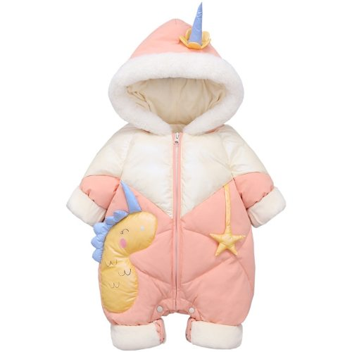 2020 Plus Velvet Winter Baby Girl Romper Cartoon Dinosaur Hooded Newborn Down Overall Coat