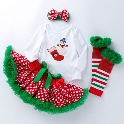 2020 Winter New Baby Girls Letter Christmas Tree Long-sleeved Romper Tube Socks Headwear Four-piece