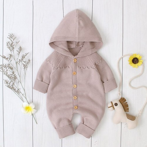 2020 Spring New Children Girls Hooded Knitted Jumpsuit Boys Buckle  Hat Suit Newborn Romper Children Clothing