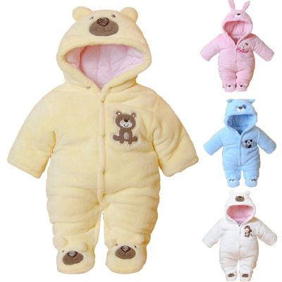 Cartoon Hooded Winter Baby Clothing Thick Cotton Baby Girl Outfits Baby Boys Jumpsuit Infant Clothes