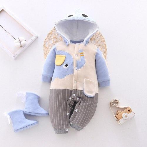 Newborn Baby Clothing  New Baby Thicken Romper Children's Romper Cotton Cartoons Stripe Kids Romper