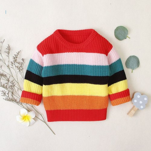 2020 Autumn Winter New Girls Long-sleeved Knitting Rainbow Striped Sweater Little Girls Round Neck Pullover Jackets