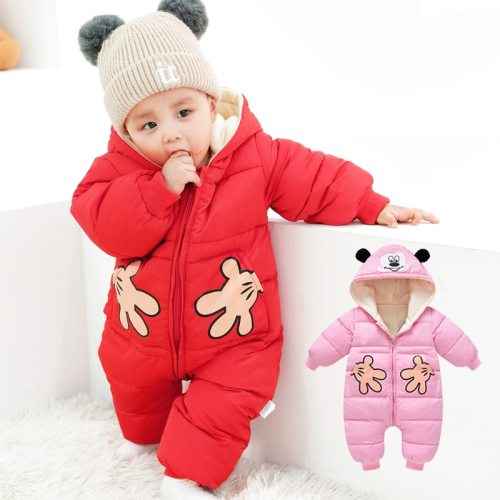 Autumn Winter Baby Rompers Cartoon Plus Velvet Newborn Jumpsuit Toddler Girl Overalls Snowsuit
