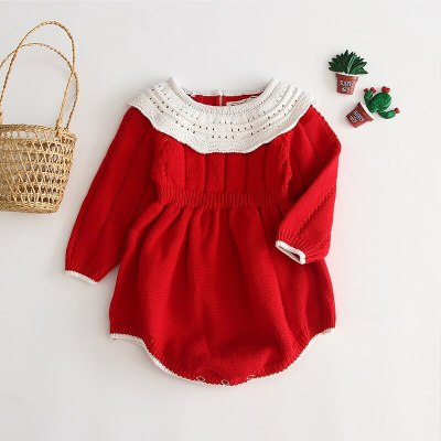 Newborn Clothes 2020 Autumn Winter Infant Baby Girls Clothing Kids Knitting Jumpsuit Christmas Red Long-sleeved Romper