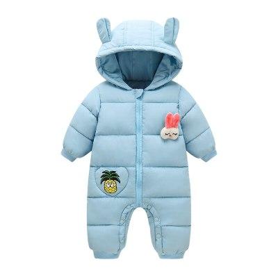 Autumn Winter Newborn Baby Rompers Hooded Cartoon Rabbit Baby  Snowsuit Toddler  Jumpsuit